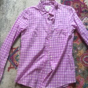 Jcrew neon purple gingham boy shirt